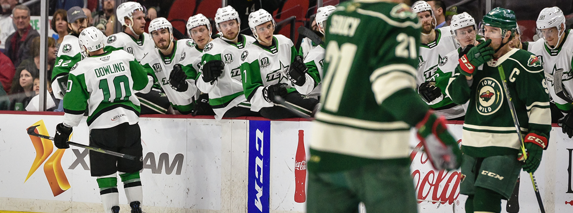 Stars Begin Road Trip with 2-1 Overtime Win