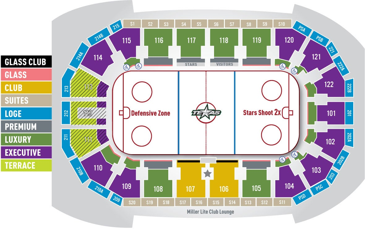 Seating chart texas stars